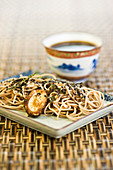Sobanoodles with mushrooms and broth