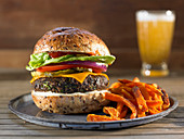 Vegan Bean Burger with Sweet Potato French Fries