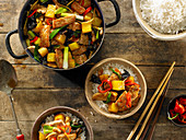 Stir-Fried Pork and Pineapple over White Rice