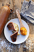 Grilled duck breast with sweet potato cream