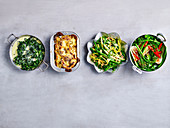 Low Carb sides - Creamed Spinach, Cauliflower Gratin, Bean Salad and Asian Greeens with Char Siu Sauce