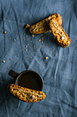 Italian cantuccini biscuits with coffee