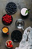Berries, yoghurt and cereals