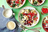 Couscous, beetroot and spinach salad with roasted cauliflower