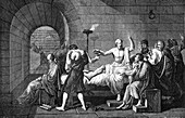 The Death of Socrates, 19th-century engraving