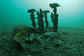 Marine waste polluting the seabed