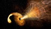 Supermassive black hole destroying star, illustration