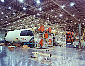 Saturn V first stage horizontal assembly, 1968
