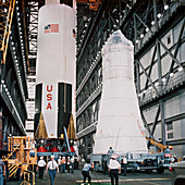 Saturn V first stage and Apollo spacecraft, 1968