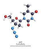AZT HIV and AIDS drug molecule