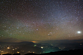 Night sky and airglow over hills