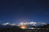 Night sky over Meili Snow Mountains, China