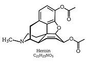 Heroin opioid drug, molecular structure