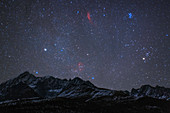 Night sky over mountains at Kangding, Tibet