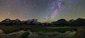 Milky Way over mountains in Tibet