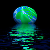 Earth globe and flooding, conceptual image