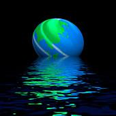 Earth globe and flooding, conceptual image