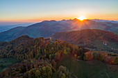 Sunset over the Jura Mountains