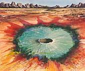 Meteorite crater, illustration