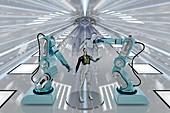 Assembling humanoid robots, illustration