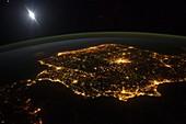 Spain at night, astronaut photograph