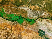 Okavango River, Namibia and Angola, satellite image
