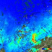 Nitrogen dioxide over Germany, 2017 satellite image
