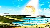 Chicxulub asteroid impact, illustration