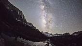 Milky Way in the night sky, timelapse footage
