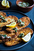 Breaded aubergine schnitzel with lemon