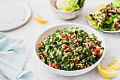Tabbouleh salad served on Romain lettuce