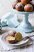 Ricotta mini donuts with lemon peel, dusted with icing sugar