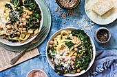 Tagliatelle with kale, chickpeas, parmesan and sunflower seeds