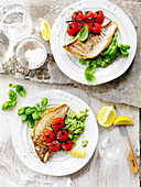 Fish with Roast Tomatoes and Broccoli Pesto