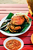 Indonesian BBQ crab with sambal Olek