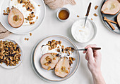 Poached Pears served with yogurt and maple granola