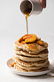 Pancakes with peach and maple