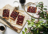 Coffee break with sour cherry tart
