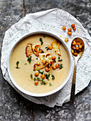 Spiced Chickpea Roast Cauliflower Soup