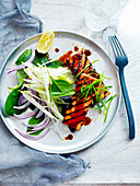 Satay Tofu with Spinach and Apple Salad