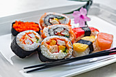 Assortment of makis and sushis