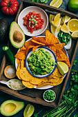 Typisch mexikanische Guacamole mit Nachos