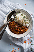 Red lentil and carrot stew with jasmine rice (vegan)