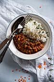 Rote-Linsen-Karotten-Eintopf mit Jasminreis (Vegan)