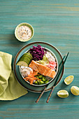 Salmon and sushi poke bowl