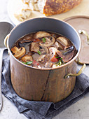 Beef and Mushrooms in Red Wine
