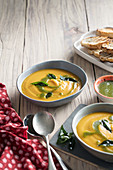 Butternut and ginger soup with garam masala drizzle