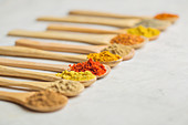 Various types of spices in wooden spoons
