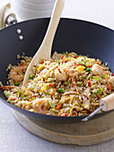 Asian Combination of Fried Rice with shrimps