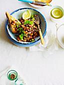 Salmon Tartare and Lentil Salad